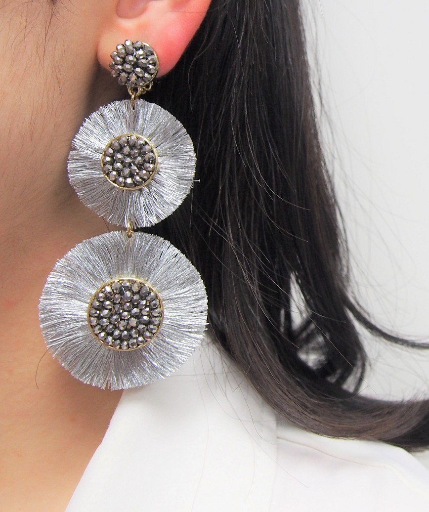 Large Circle Fringe Drop Earrings - Silver