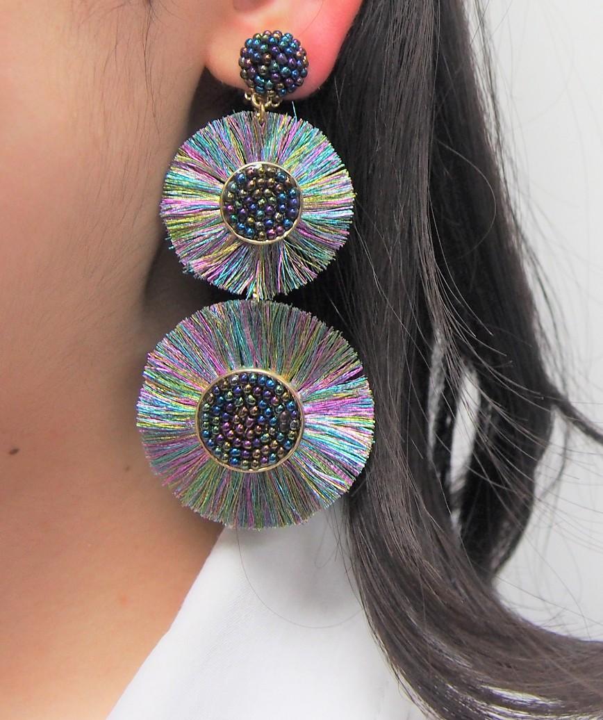 Large Circle Fringe Drop Earrings - Multi