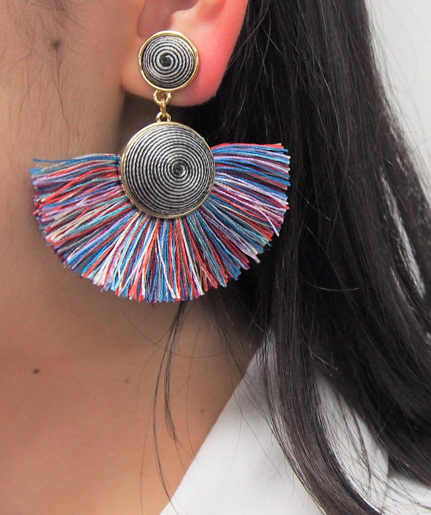 Semicircle Fringe Earrings - Multi