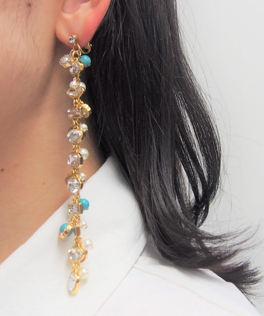 Turquoise mix long Earings