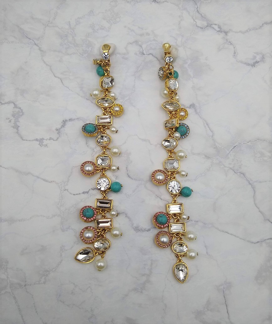 Turquoise mix long Earings