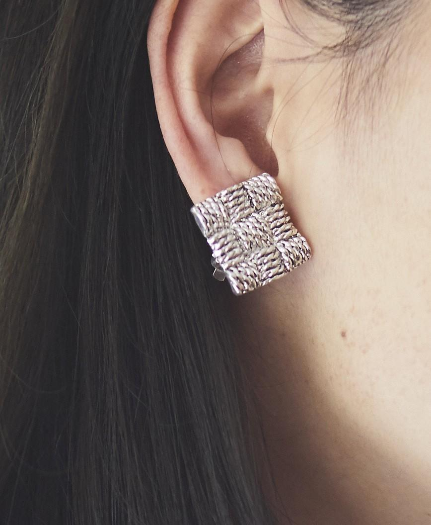 Silver Square Earrings