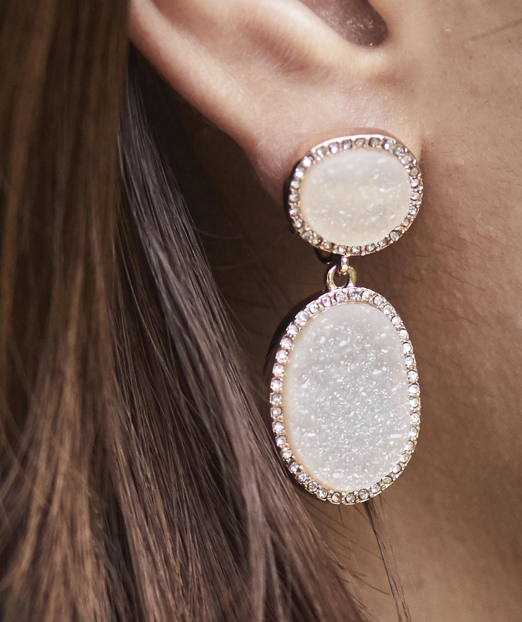 Stone Drop Petit Earrings