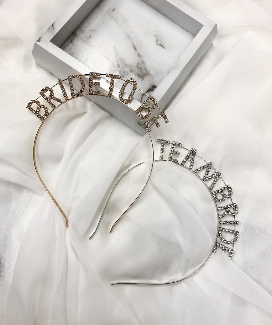 """【販売商品】レターカチューシャ""""TEAM BRIDE""""-シルバー"""