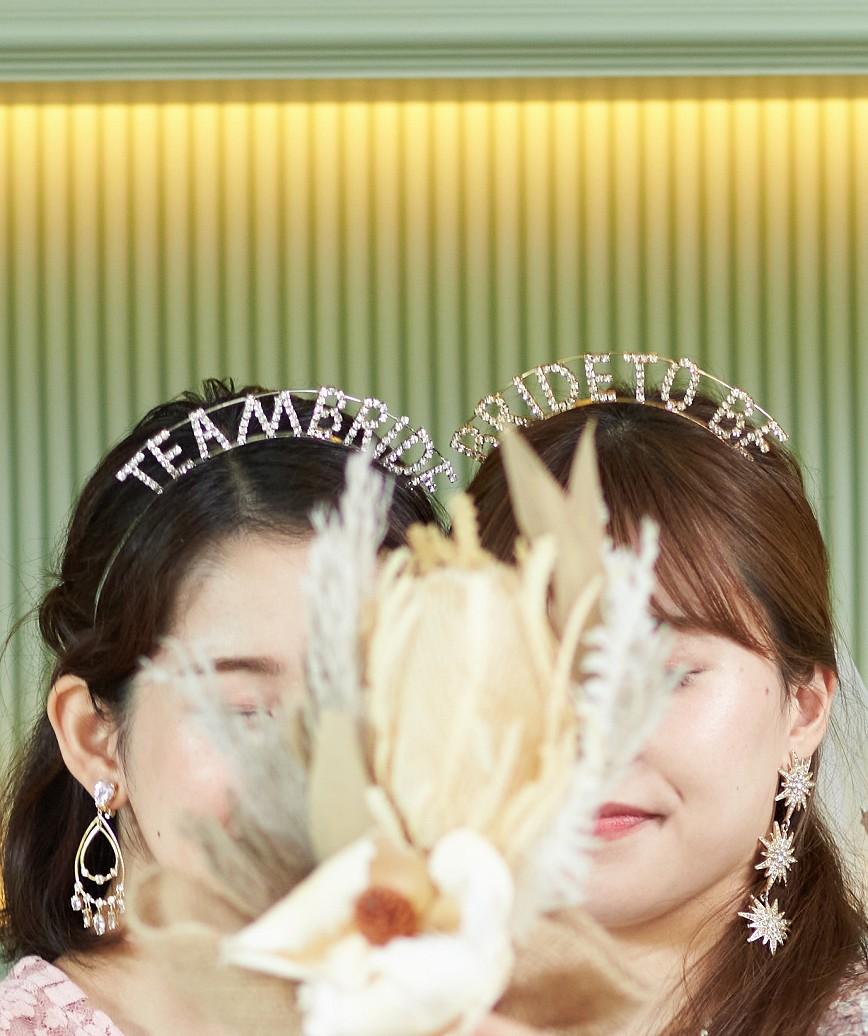 """【販売商品】レターカチューシャ""""BRIDE TO BE""""-ゴールド"""