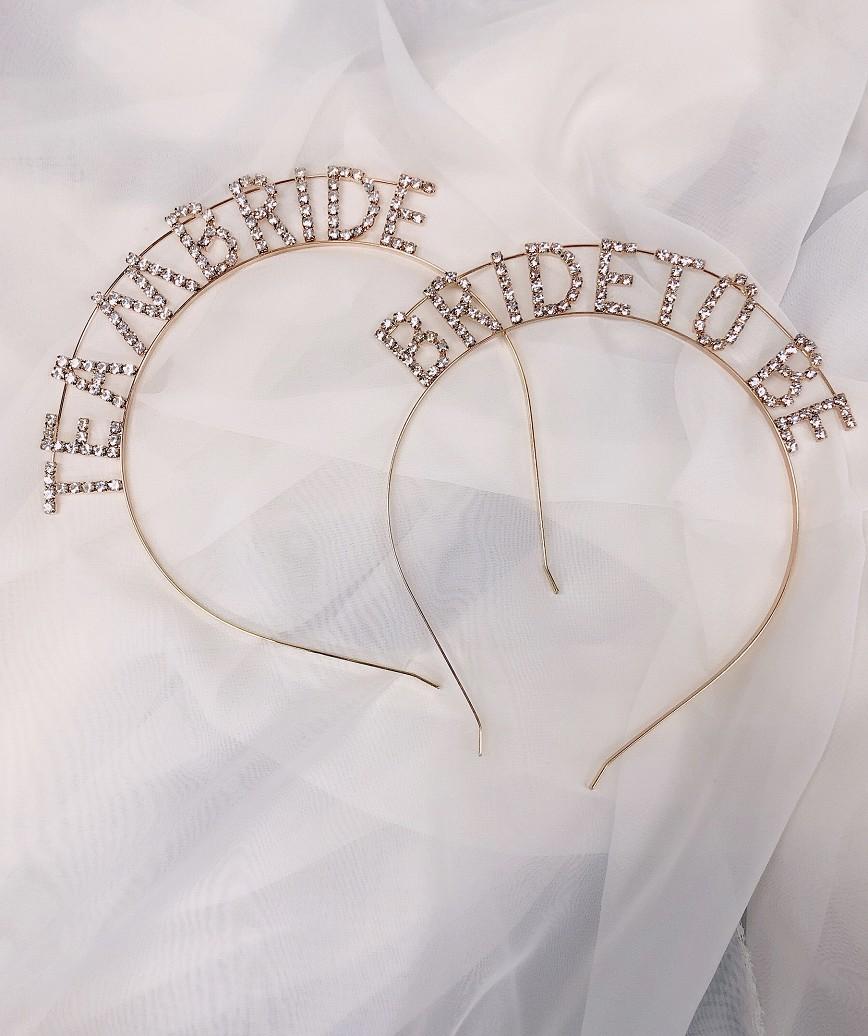 """【販売商品】レターカチューシャ""""TEAM BRIDE""""-ゴールド"""