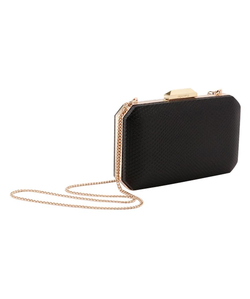 Leather Square Black Clutch bag