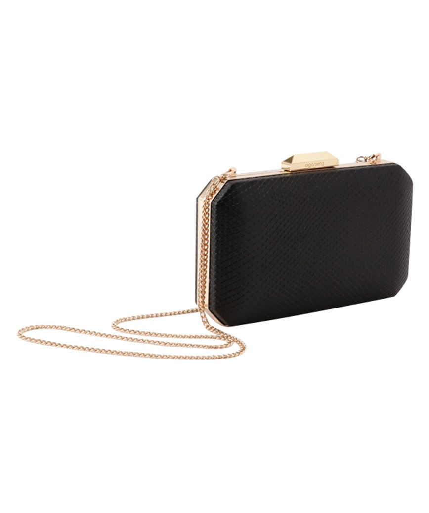 Leather Square Black Clutch bag