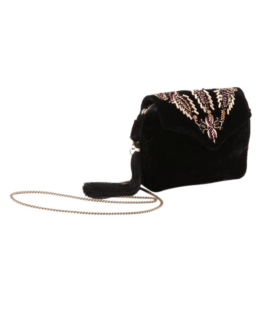 Velvet Black Clutch bag