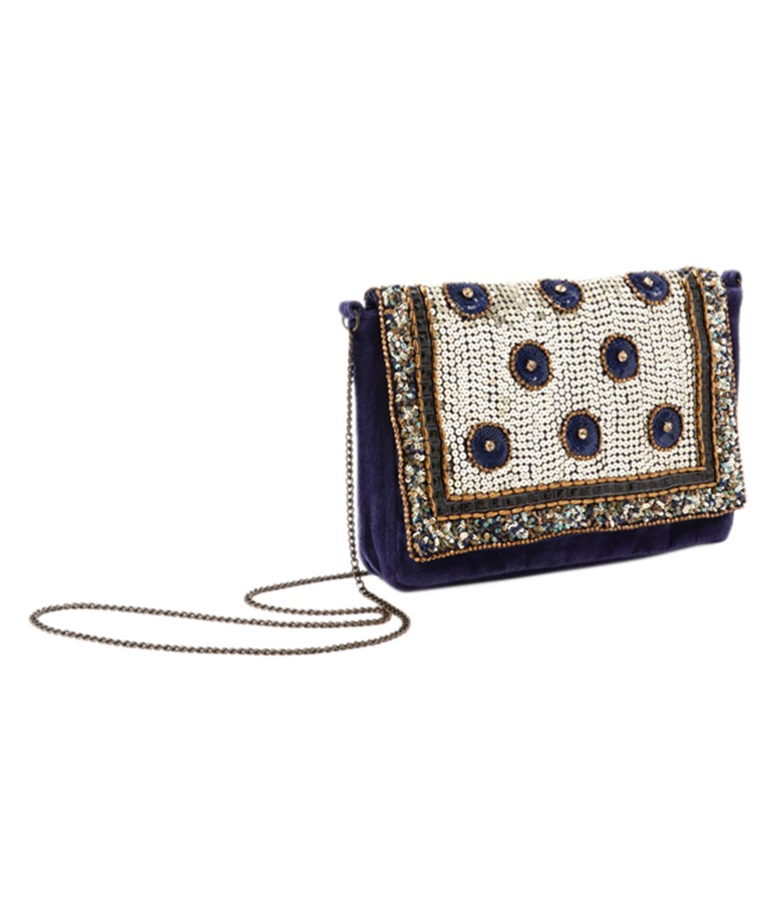 Navy Sequins Cltuch bag