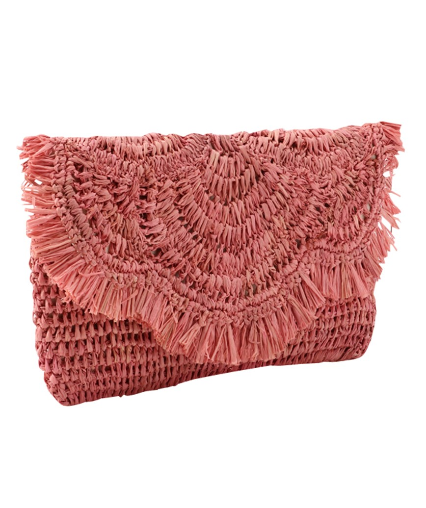 Pink Straw Clutch bag