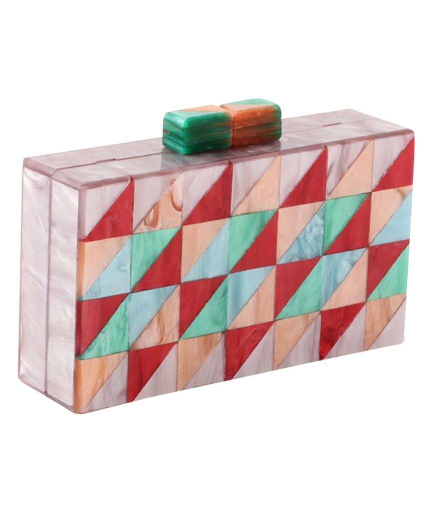 Pink Pattern Box Clutch bag