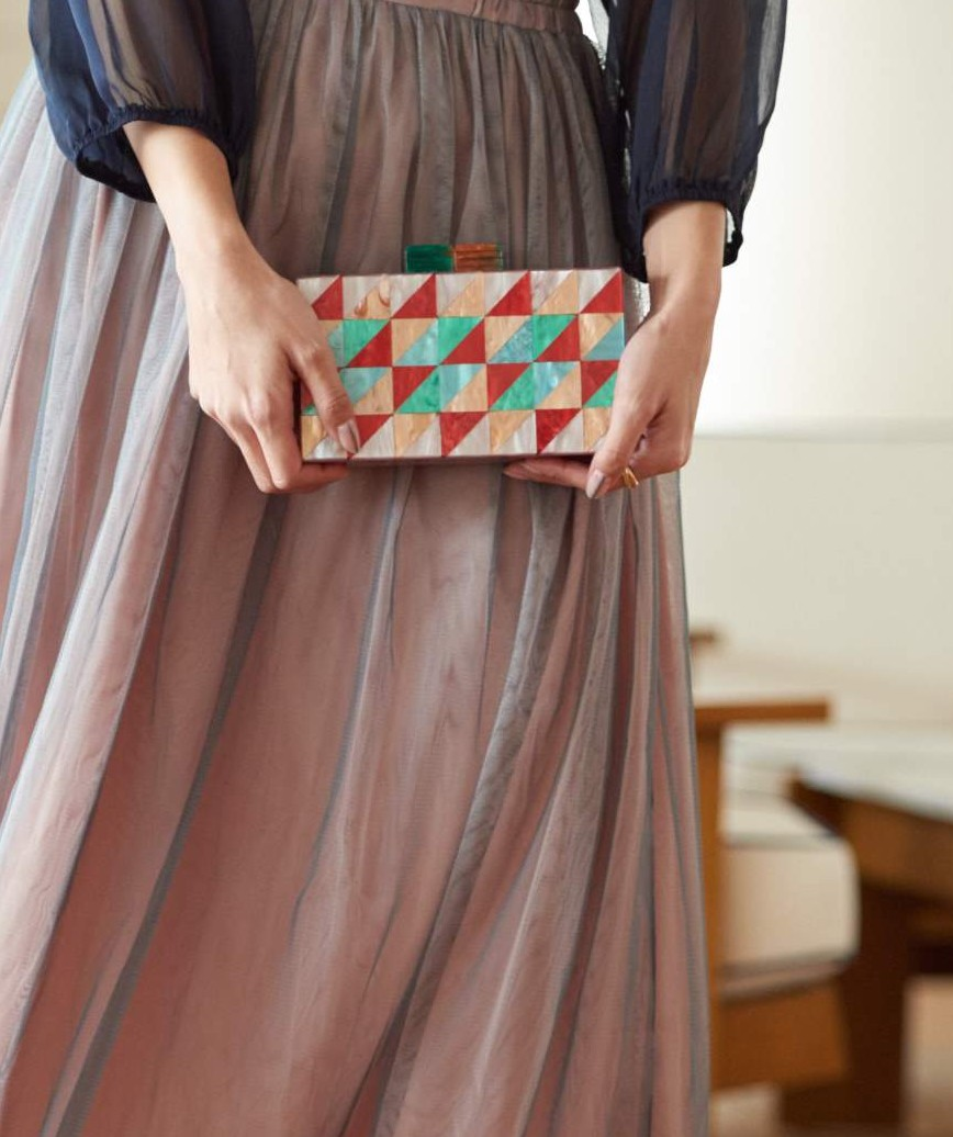 Pink Pattern Box Clutch bag