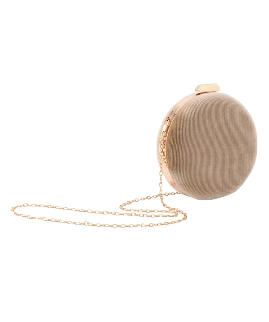 Beige Velvet Circle Clutch bag