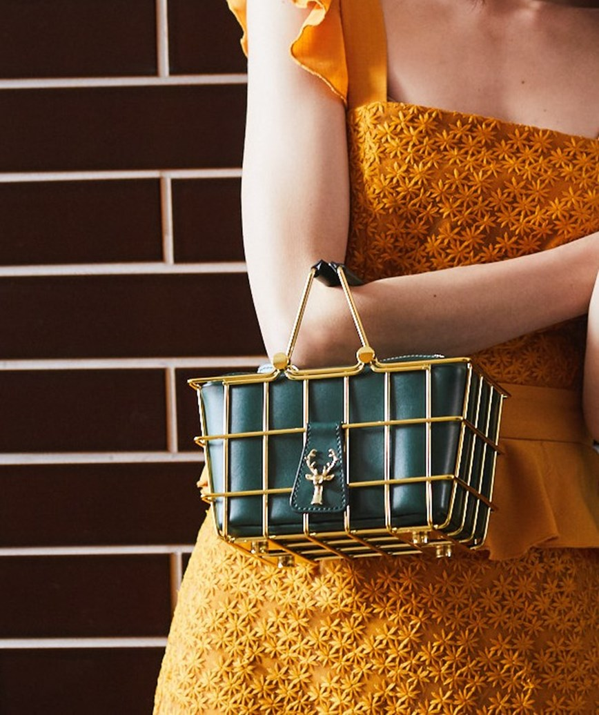 Green Basket Clutch bag