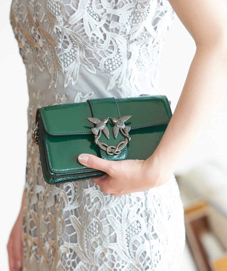 Green Enamel Clutch bag