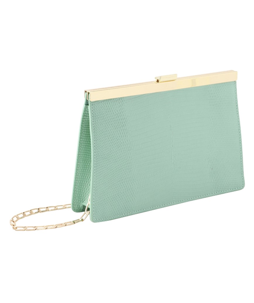 Light Green Leather Clutch bag