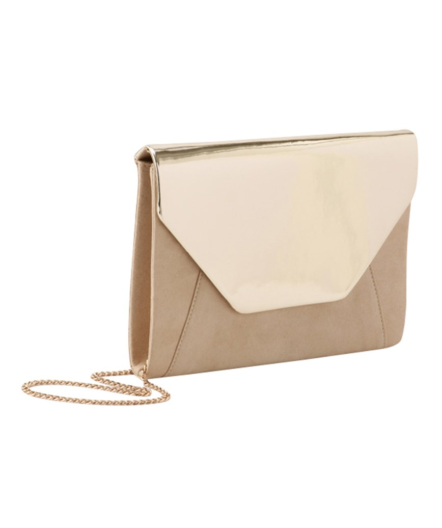 Two tone Gold Clutch bag