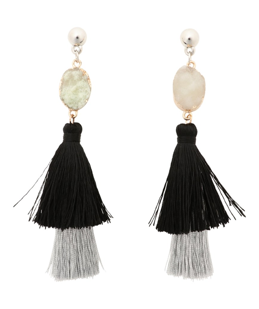Stone Fringe Earrings