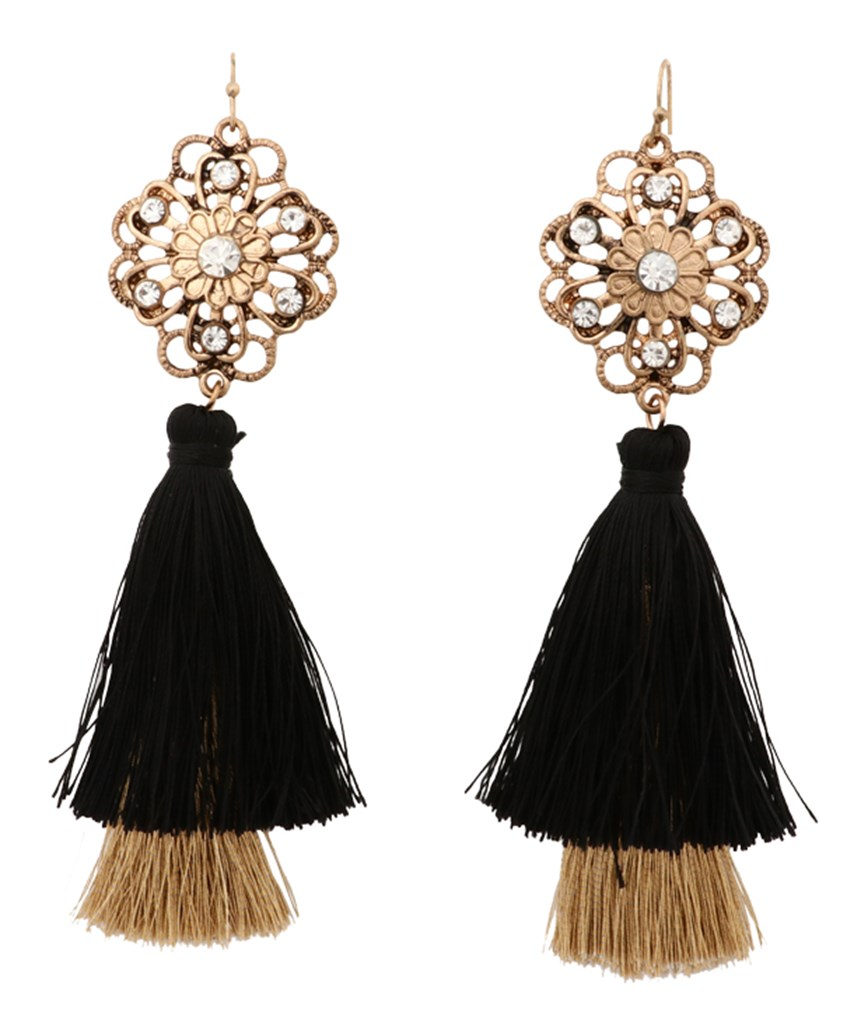 Black Gold Fringe Earrings