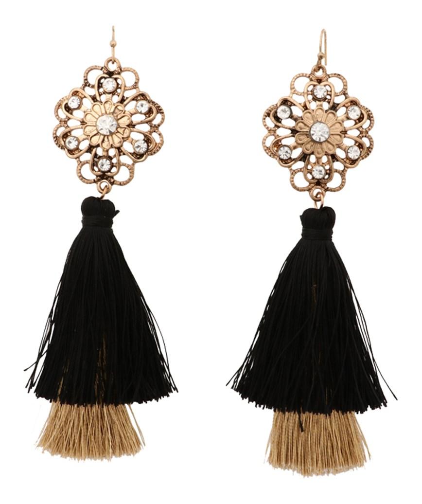 Black Gold Fringe Earrings