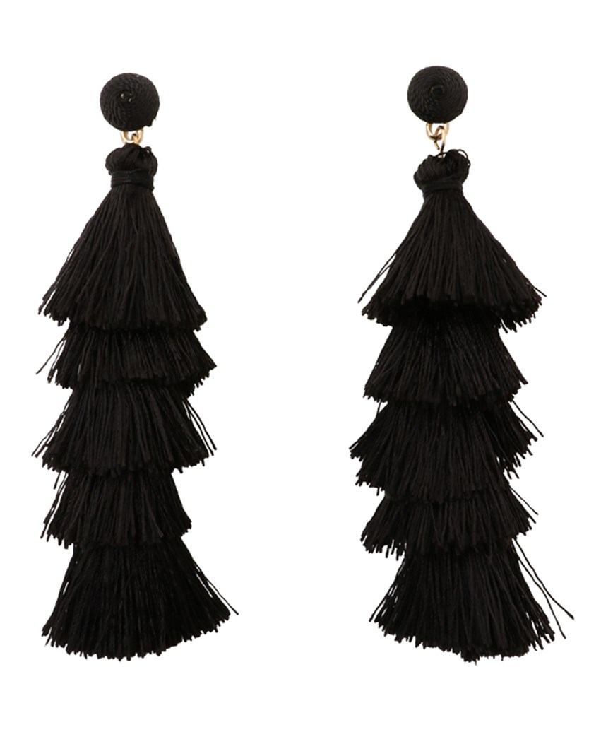 Fringe Long Earrings - Black