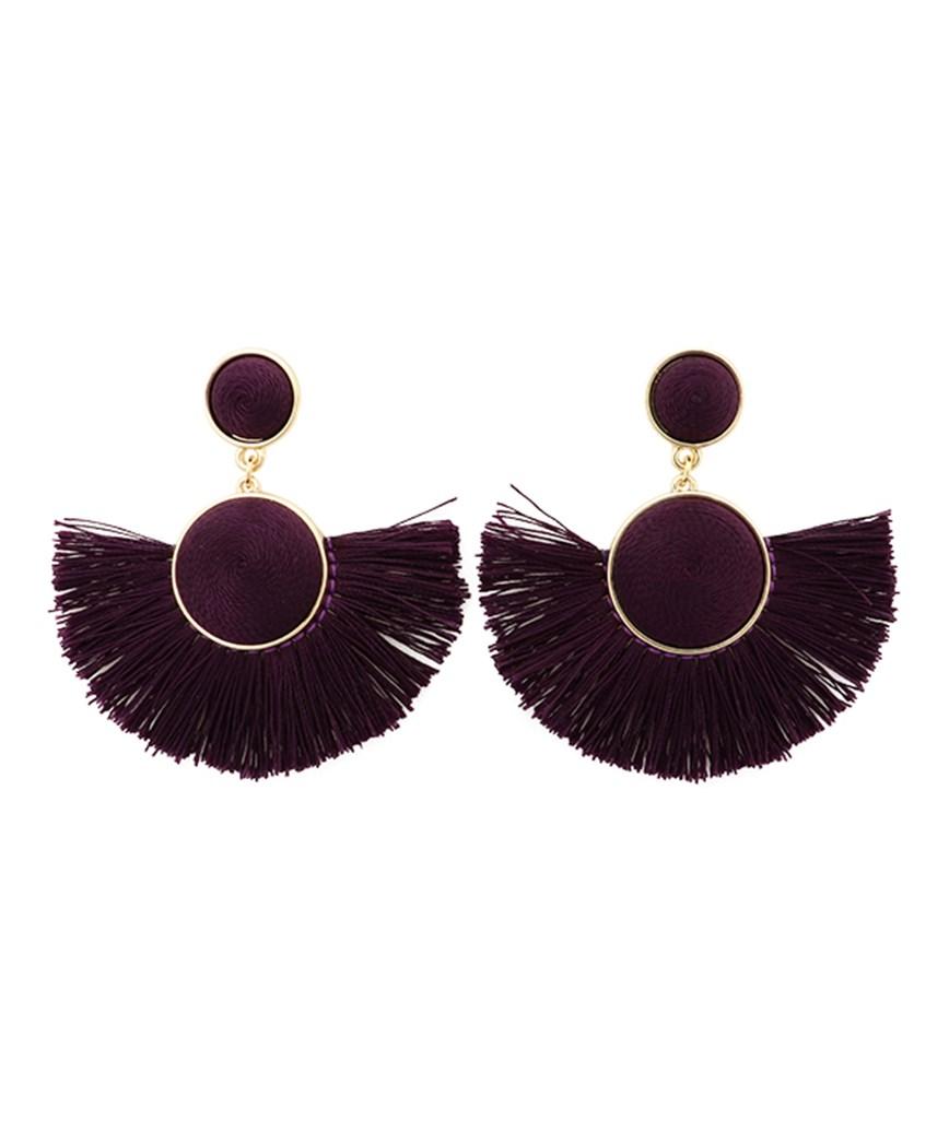 Semicircle Fringe Earrings - Purple
