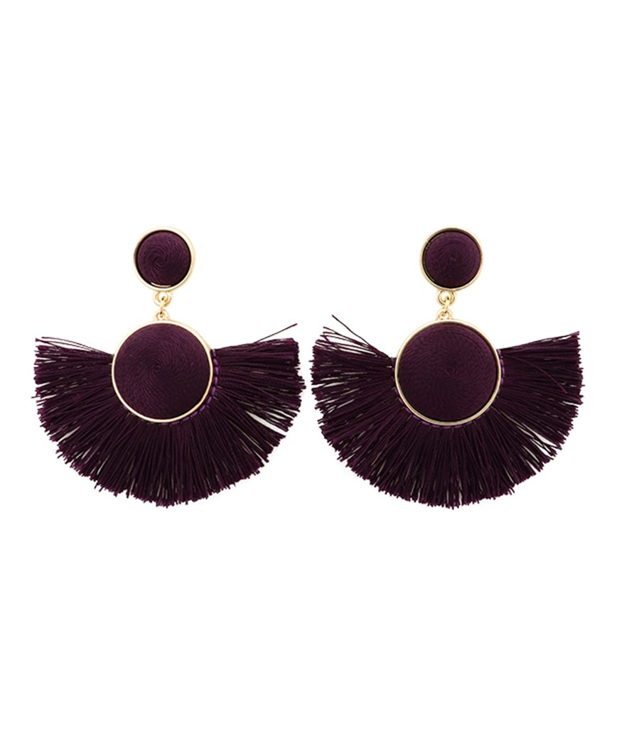 Semicircle Fringe Earrings - Purple