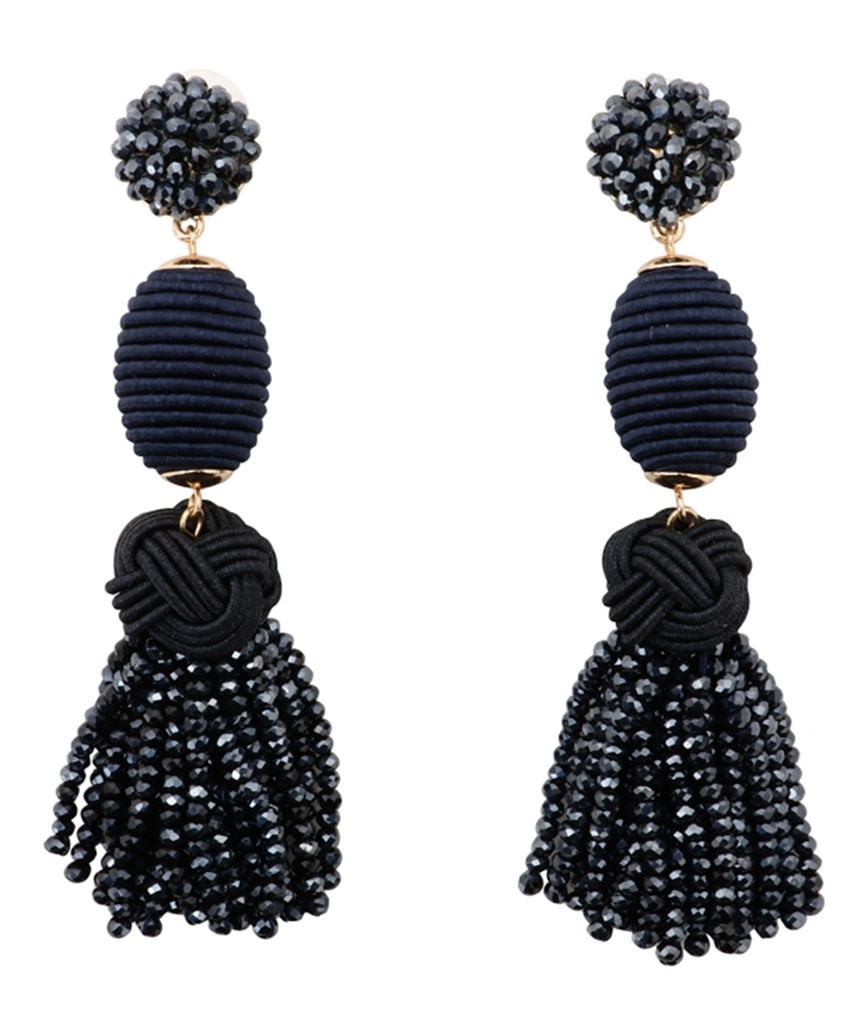 Crystal Tassel long Earrings - Navy