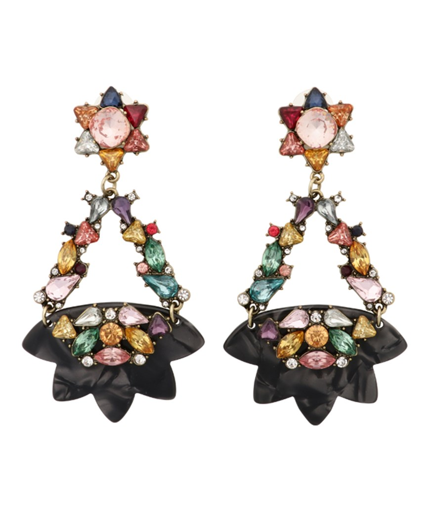 Star Motif Drop Earrings - Black