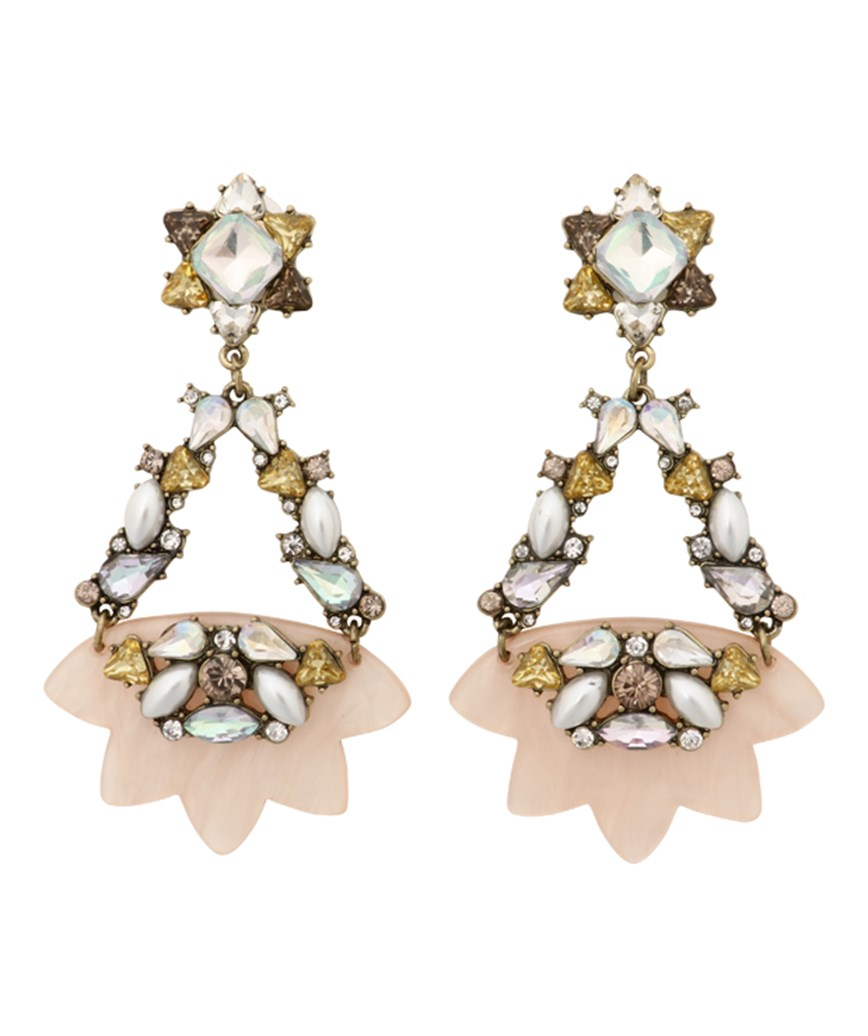 Star Motif Drop Earrings - Pink