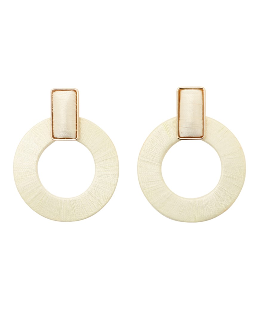 Donut Hoop Earrings - White
