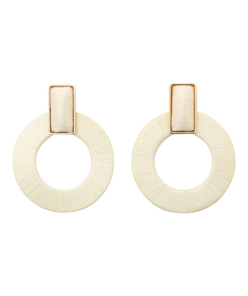 Donut Hoop Earrings - White