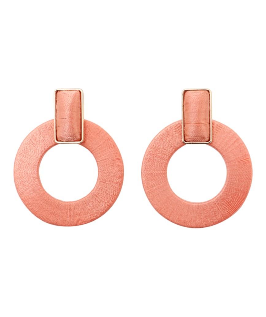 Donut Hoop Earrings - Pink
