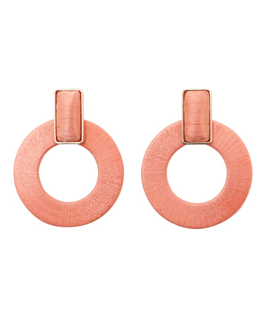 Donut Hoop Earrings - Pink