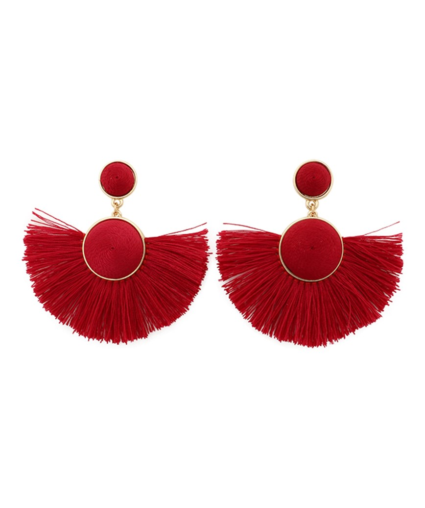 Semicircle Fringe Earrings - Red