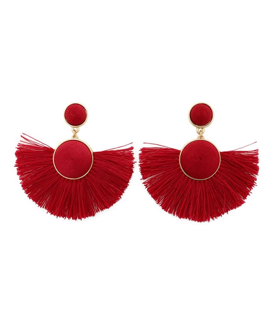Semicircle Fringe Earrings - Red