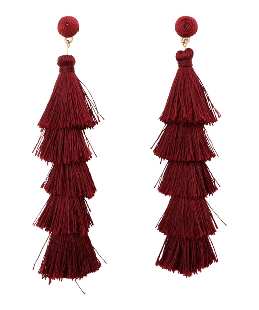 Fringe Long Earrings - Red