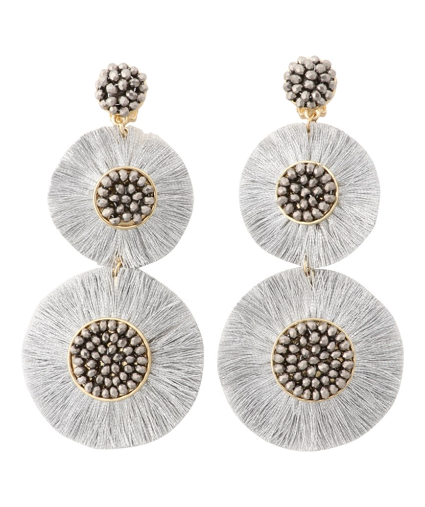 Large Circle Fringe Drop Earrings - Silver