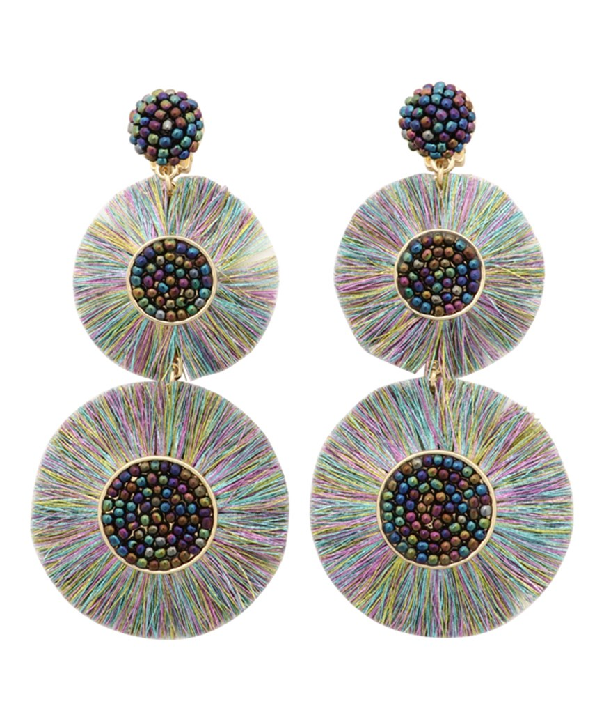 Large Circle Fringe Drop Earrings - Multi