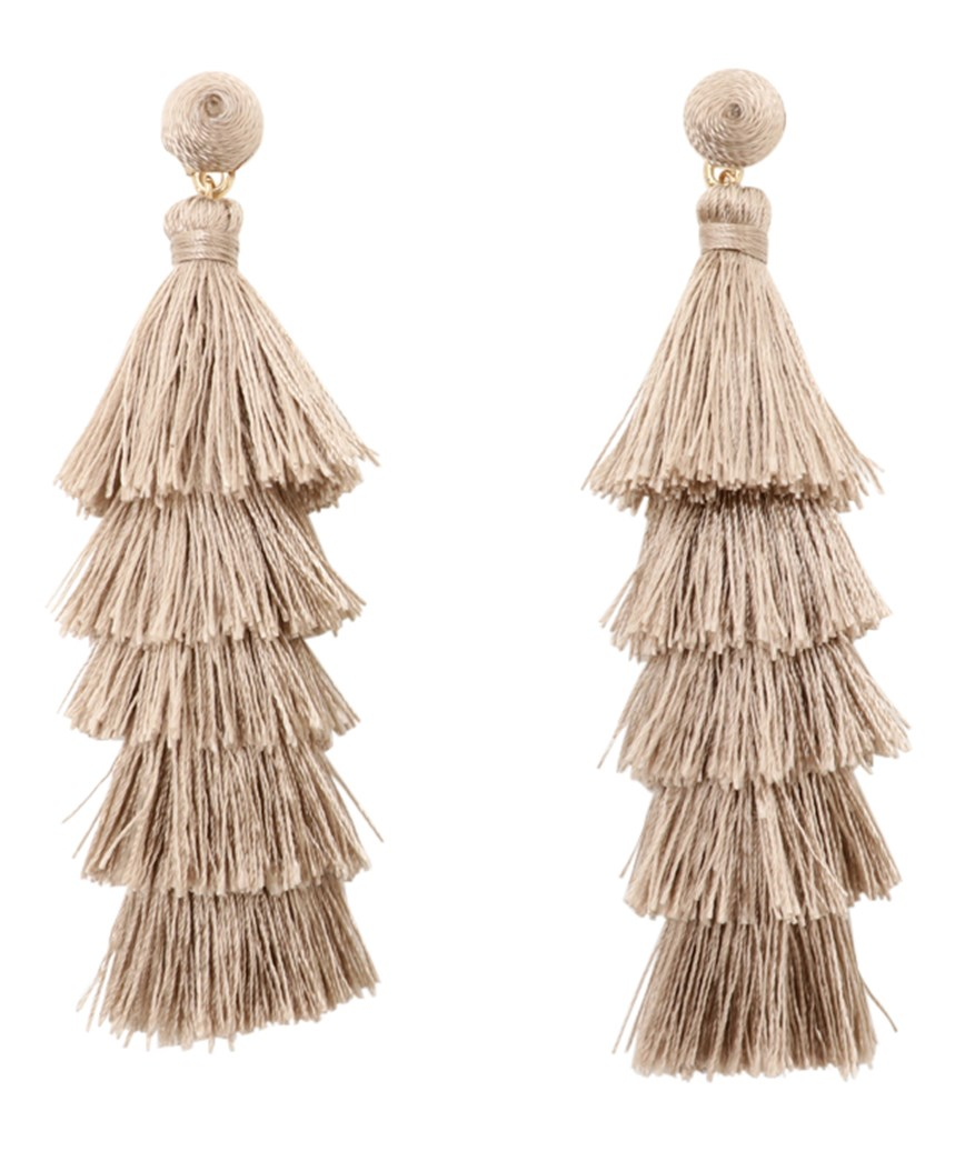 Fringe Long Earrings - Beige