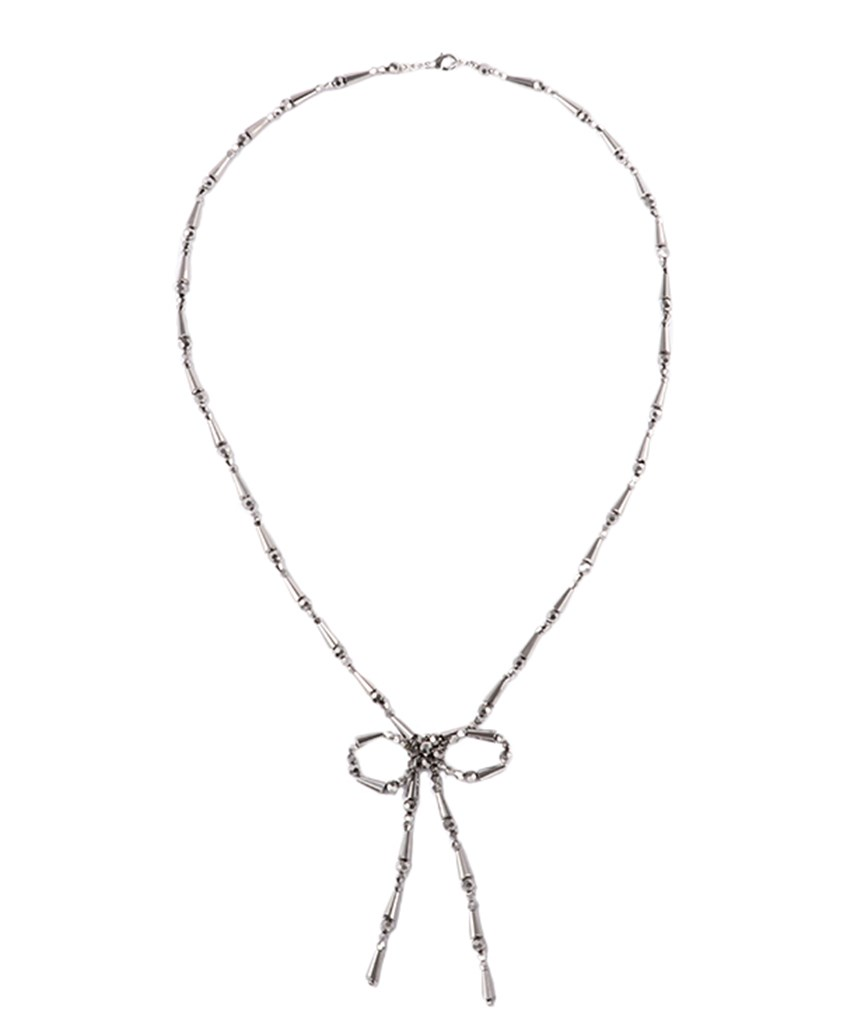 BOW LARIAT NECKLACE ー Silver