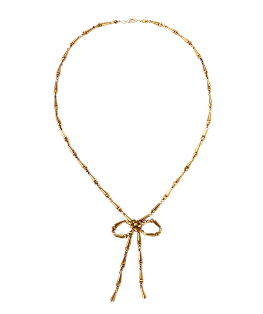 BOW LARIAT NECKLACE ー Gold